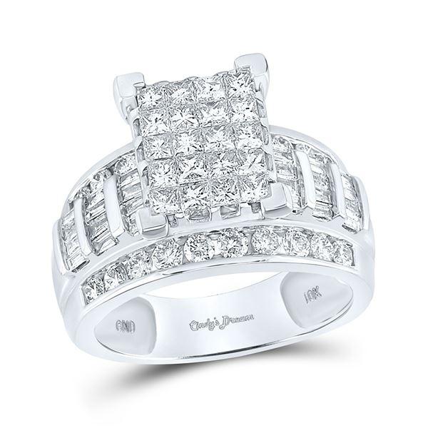 Princess Diamond Cluster Bridal Wedding Engagement Ring 2 Cttw 10kt White Gold