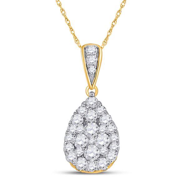Diamond Teardrop Cluster Pendant 1/2 Cttw 14kt Yellow Gold