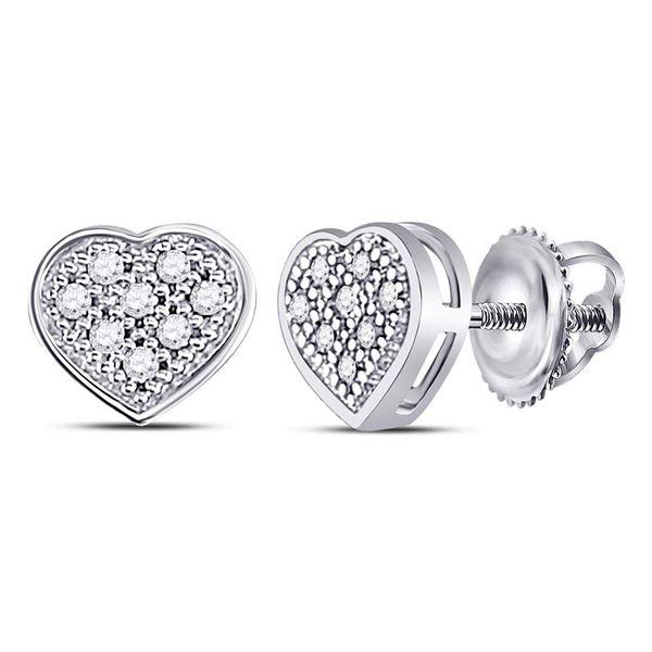 Diamond Heart Cluster Earrings 1/20 Cttw 10kt White Gold