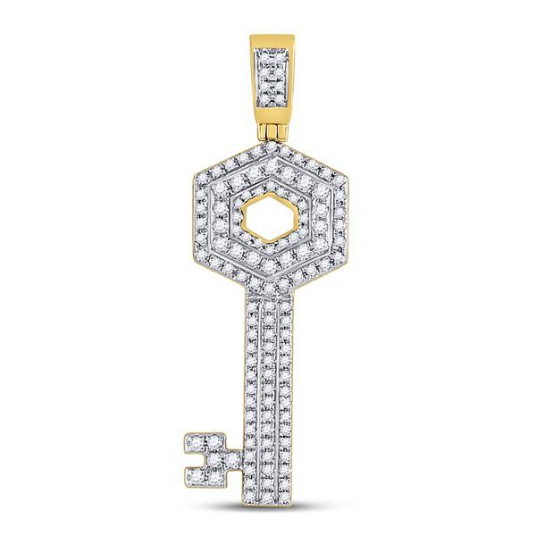 Mens Diamond Key Charm Pendant 5/8 Cttw 10kt Yellow Gold
