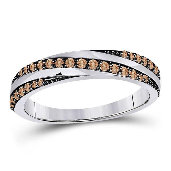 Brown Diamond Diagonal Stripe Band Ring 1/4 Cttw 14kt White Gold