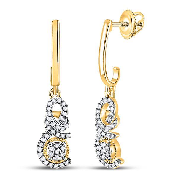 Diamond Dangle Earrings 1/5 Cttw 10kt Yellow Gold