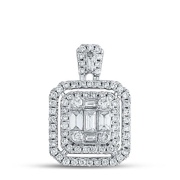 Baguette Diamond Square Cluster Pendant 1 Cttw 14kt White Gold