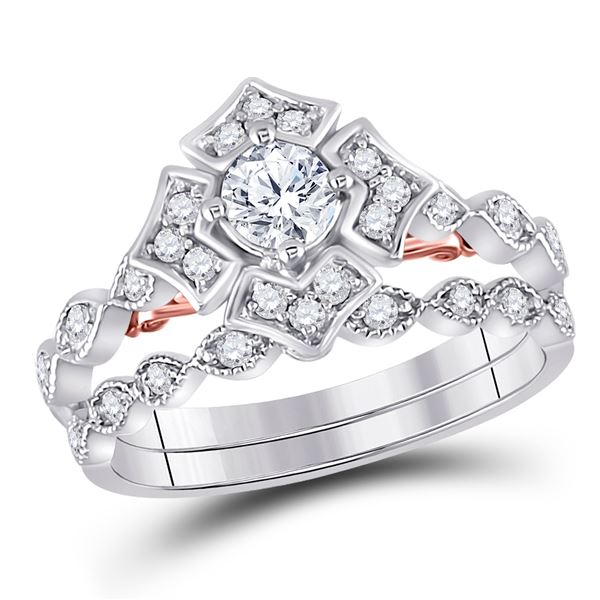 Diamond Bridal Wedding Ring Band Set 3/4 Cttw 14kt Two-tone Gold