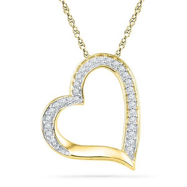 Diamond Heart Outline Pendant 1/8 Cttw 10kt Yellow Gold