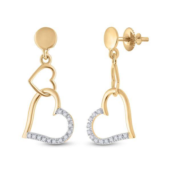 Diamond Heart Dangle Earrings 1/10 Cttw 14kt Yellow Gold