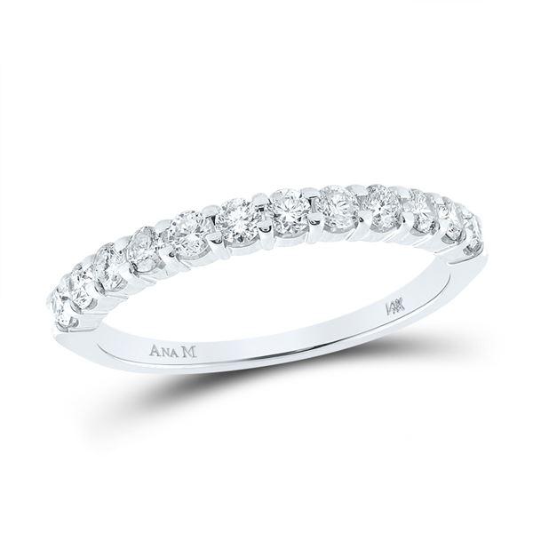 Diamond Single Row Band Ring 1/2 Cttw 14kt White Gold