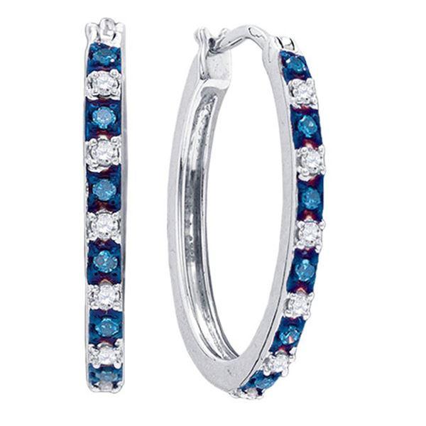 Blue Color Enhanced Diamond Hoop Earrings 1/4 Cttw Sterling Silver