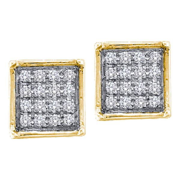 Diamond Square Cluster Earrings 1/20 Cttw 10kt Yellow Gold