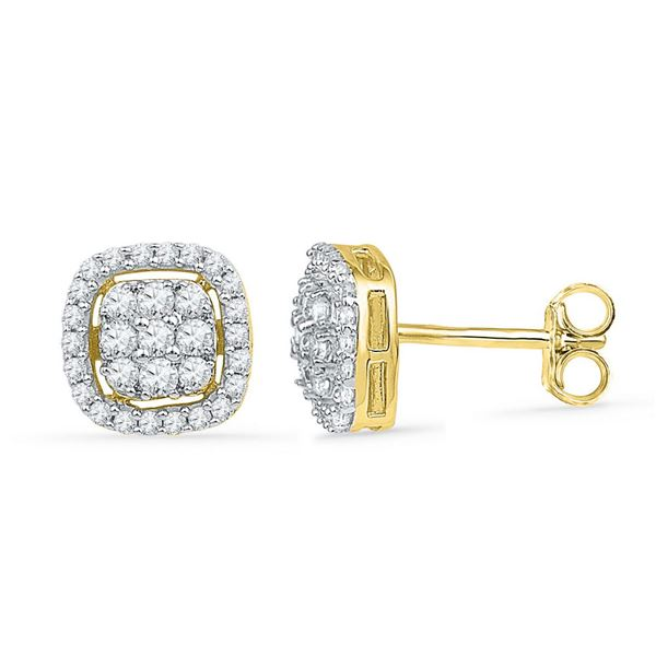 Diamond Square Cluster Earrings 1/2 Cttw 10kt Yellow Gold