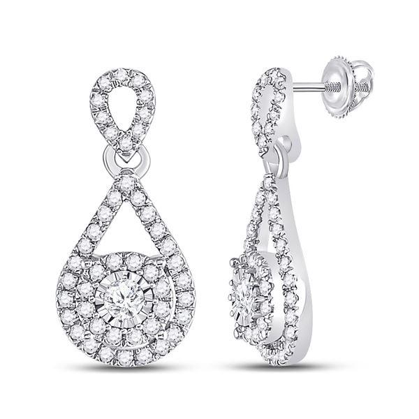 Diamond Teardrop Stud Earrings 1/2 Cttw 10kt White Gold