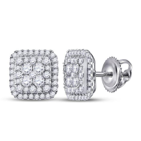 Diamond Cushion Cluster Earrings 1-1/2 Cttw 14kt White Gold