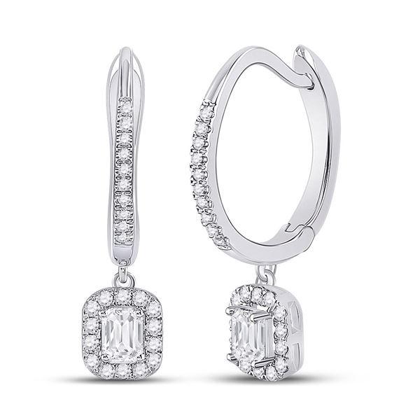 Emerald Diamond Hoop Dangle Earrings 1/2 Cttw 14kt White Gold