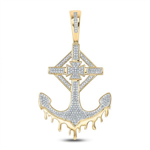 Mens Diamond Anchor Cross Charm Pendant 1/2 Cttw 10kt Yellow Gold