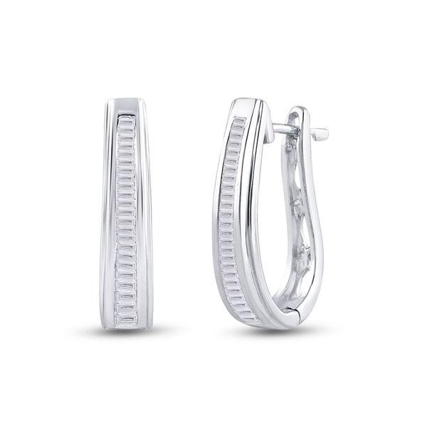 Baguette Channel-set Diamond Hoop Earrings 1/2 Cttw 10kt White Gold