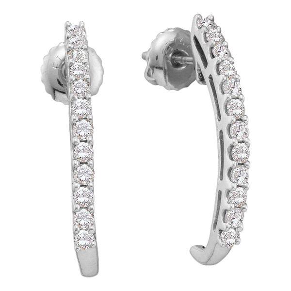 Diamond J Half Hoop Earrings 1/2 Cttw 14kt White Gold