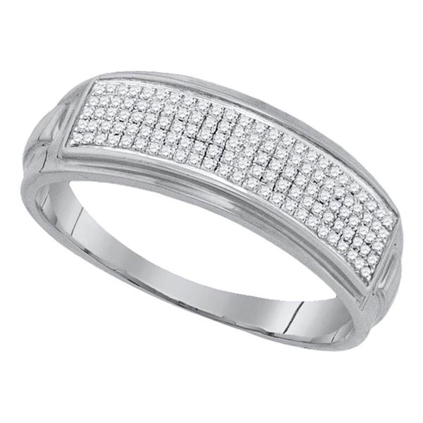 Sterling Silver Mens Diamond Pave Band Ring 1/4 Cttw Sterling Silver