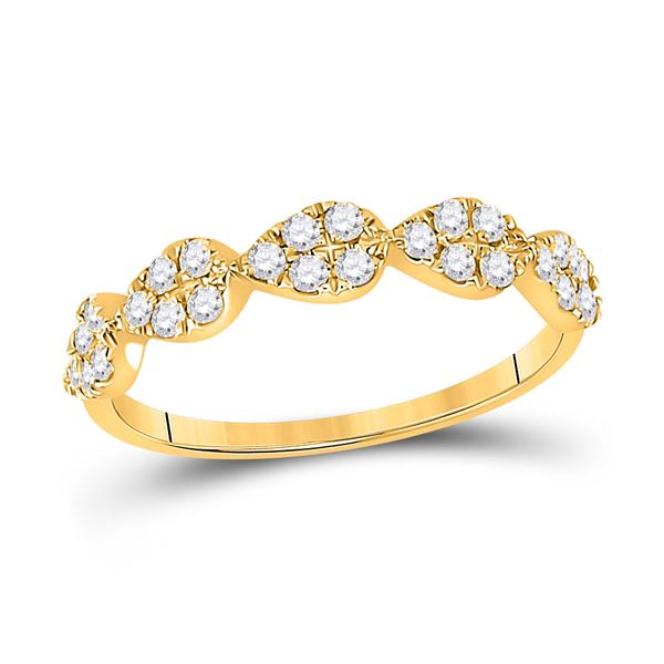 Diamond Teardrop Stackable Band Ring 1/3 Cttw 10kt Yellow Gold