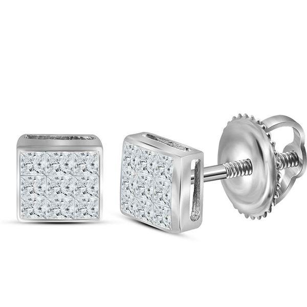 Princess Diamond Square Earrings 1/4 Cttw 14kt White Gold