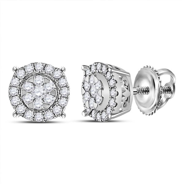 Diamond Circle Halo Cluster Earrings 1/4 Cttw 14kt White Gold