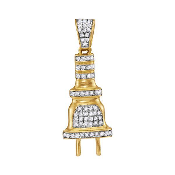 Mens Diamond Power Plug Charm Pendant 1/5 Cttw 10kt Yellow Gold
