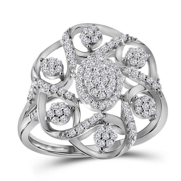 Diamond Cluster Cocktail Ring 1/3 Cttw 10kt White Gold