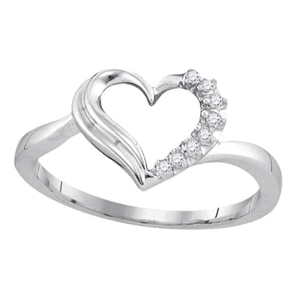 Diamond Heart Ring 1/20 Cttw Sterling Silver