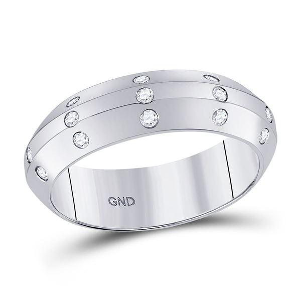 Diamond Wedding Machine-Set Band 1/6 Cttw 14kt White Gold