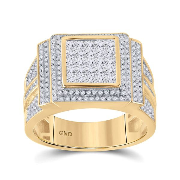 Mens Princess Diamond Square Cluster Ring 1-5/8 Cttw 10kt Yellow Gold