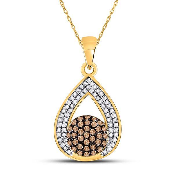 Brown Diamond Teardrop Cluster Pendant 1/3 Cttw 10kt Yellow Gold