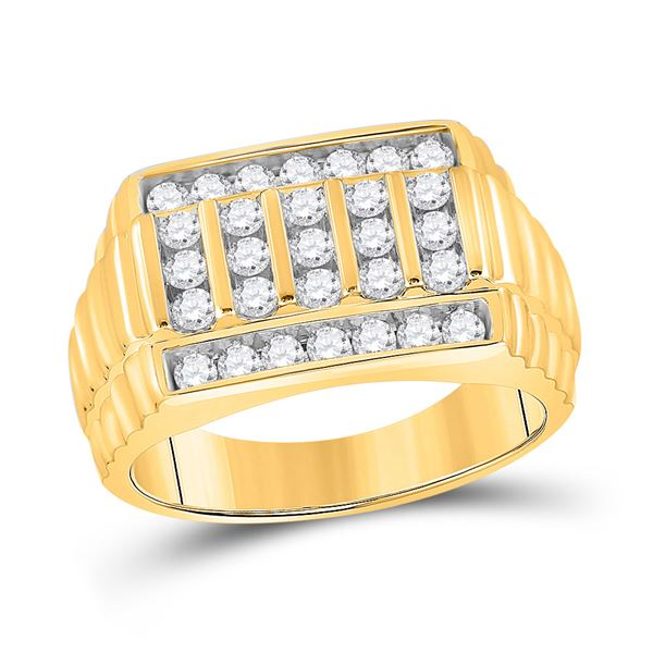 Mens Diamond Ribbed Fashion Ring 1 Cttw 10kt Yellow Gold