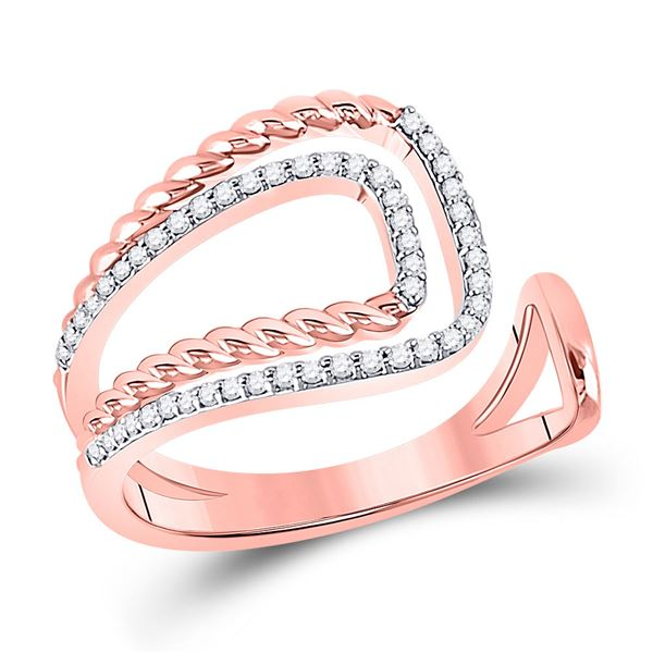 Diamond Open Rope Fashion Ring 1/5 Cttw 14kt Two-tone Gold