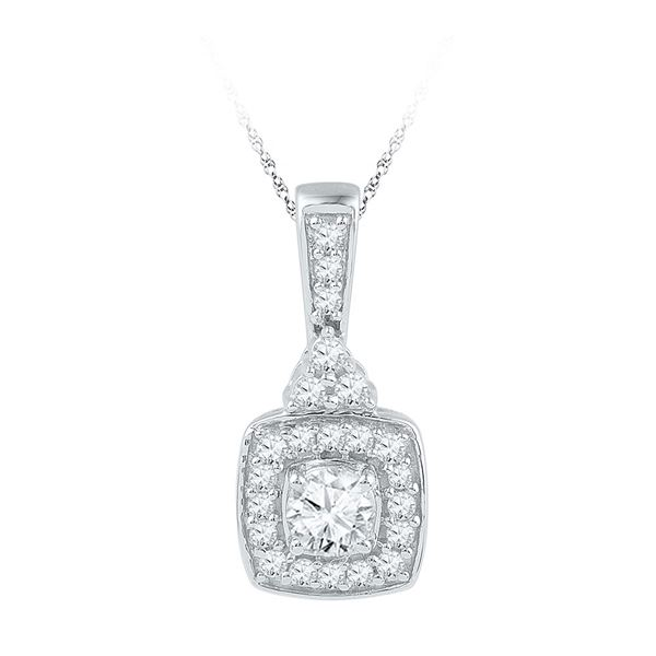 Diamond Solitaire Square Framed Pendant 1/2 Cttw 10kt White Gold