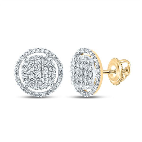 Mens Diamond Circle Earrings 3/4 Cttw 10kt Yellow Gold