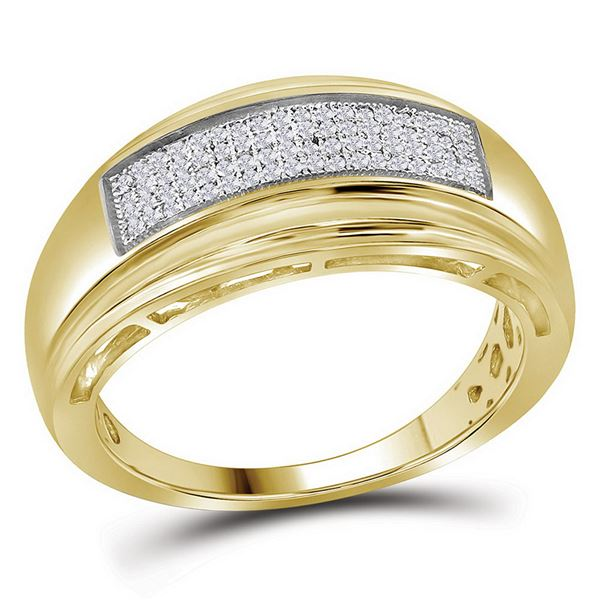 Yellow-tone Sterling Silver Mens Diamond Wedding Band Ring 1/5 Cttw Yellow-tone Sterling Silver