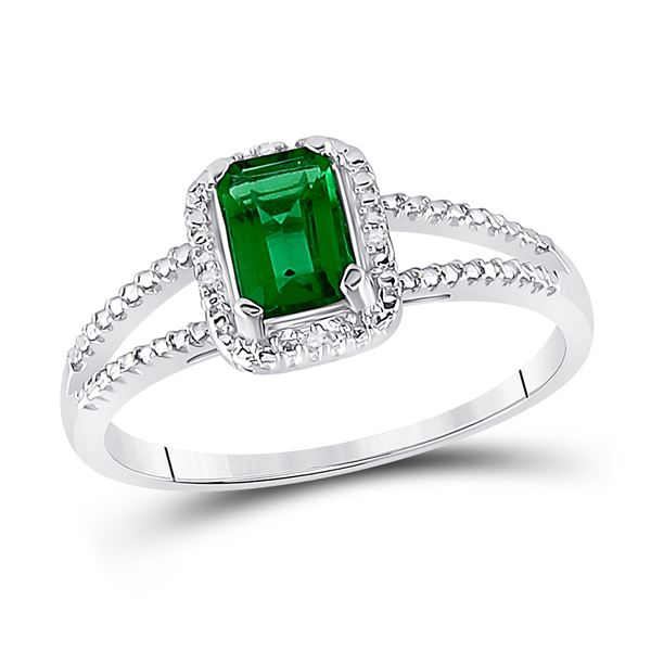 Lab-Created Emerald Solitaire Diamond Split-shank Ring 1-1/2 Cttw Sterling Silver