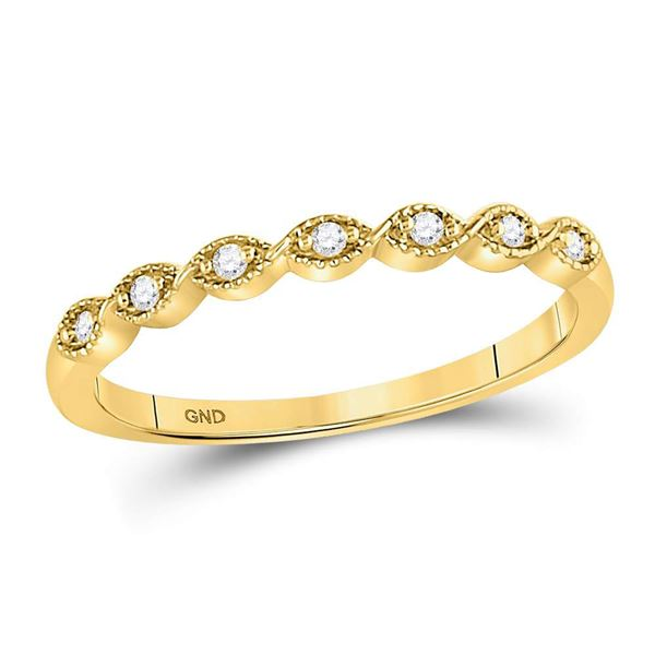 Diamond Classic Stackable Band Ring 1/20 Cttw 14kt Yellow Gold