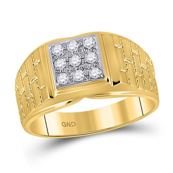Mens Diamond Brick Square Ring 1/4 Cttw 10kt Yellow Gold