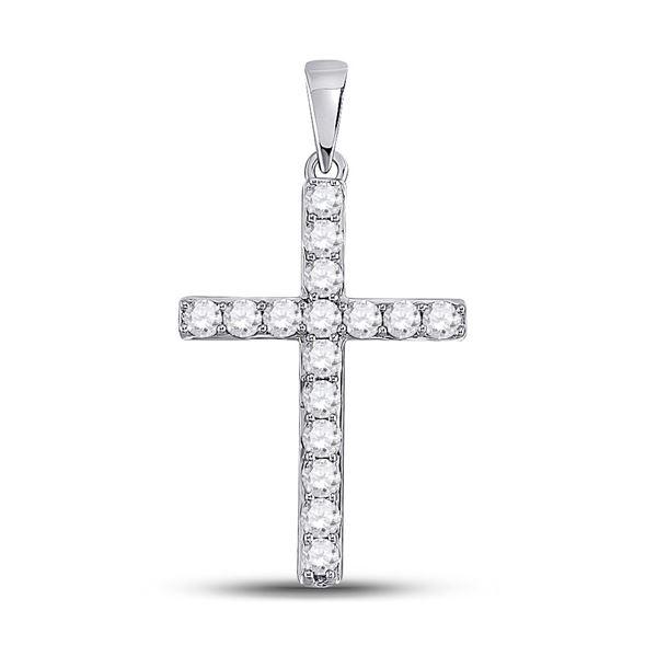 Diamond Cross Pendant 1/2 Cttw 10kt White Gold