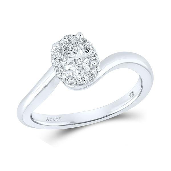 Oval Diamond Halo Bridal Wedding Engagement Ring 3/4 Cttw 14kt White Gold