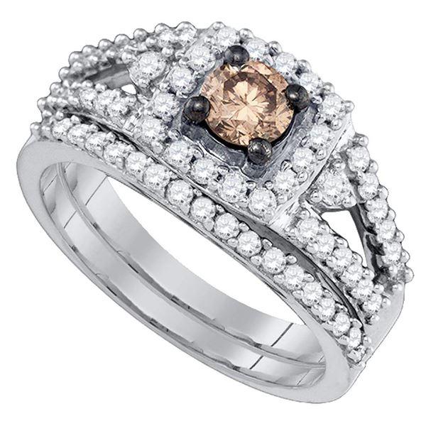 Brown Diamond Bridal Wedding Ring Band Set 1 Cttw 14kt White Gold