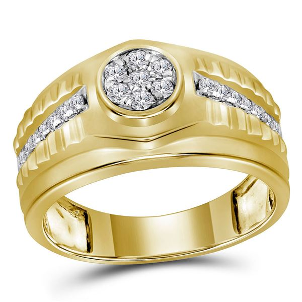 Mens Diamond Ribbed Cluster Ring 1/2 Cttw 10kt Yellow Gold