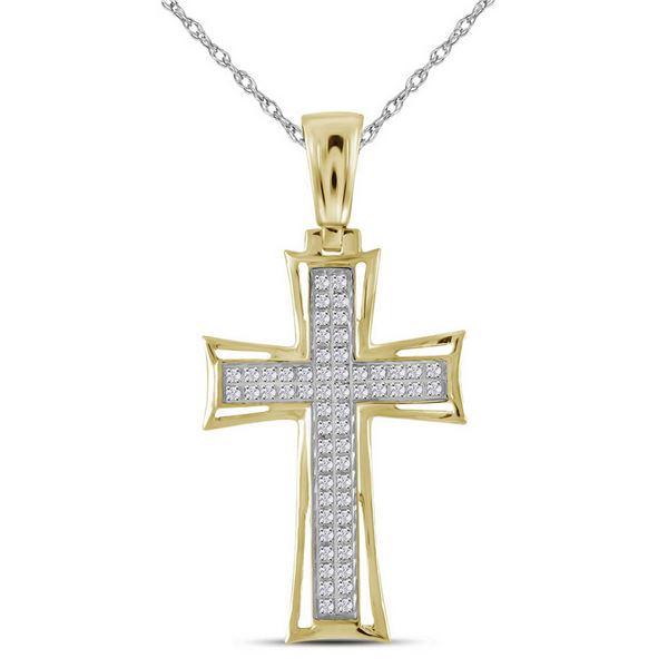 Mens Diamond Gothic Cross Charm Pendant 1/6 Cttw 10kt Yellow Gold