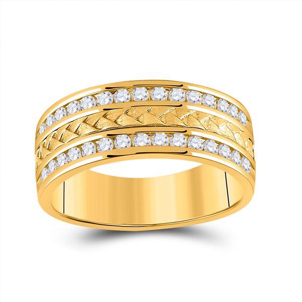 Mens Diamond Wedding Braid Inlay Band Ring 3/4 Cttw 14kt Yellow Gold