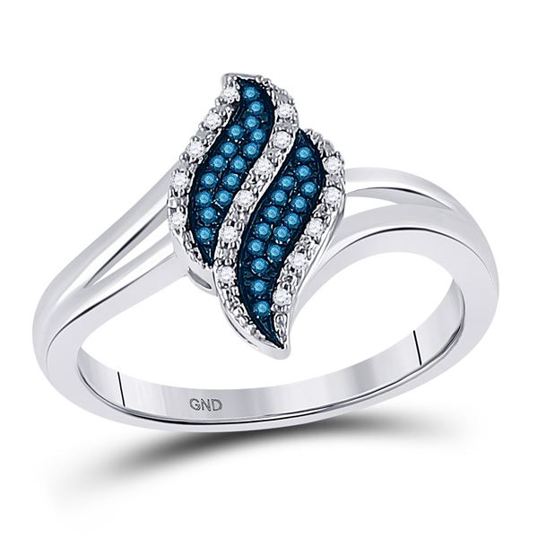 Blue Color Enhanced Diamond Cluster Ring 1/10 Cttw 10kt White Gold