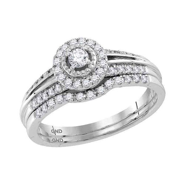 Diamond Halo Bridal Wedding Ring Band Set 1/3 Cttw 10kt White Gold