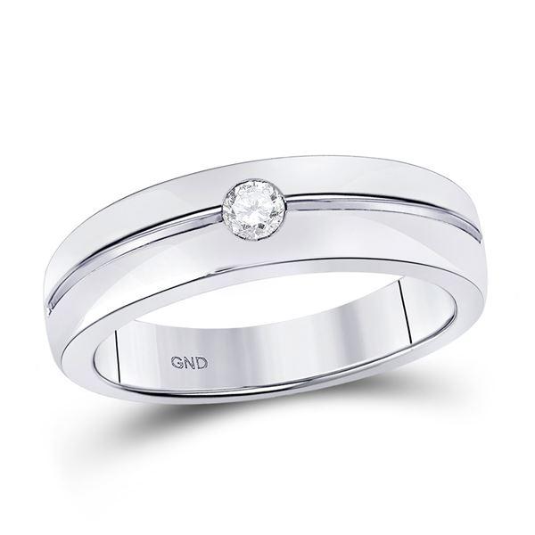 Mens Bezel-set Diamond Wedding Band Ring 1/6 Cttw 14kt White Gold
