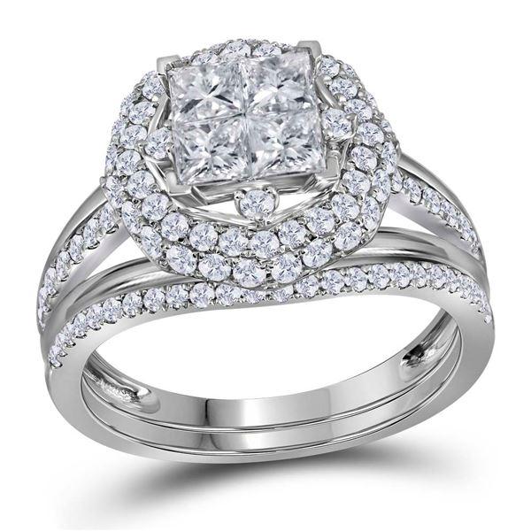 Princess Diamond Bridal Wedding Ring Band Set 1-1/2 Cttw 14kt White Gold