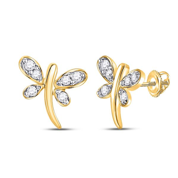 Diamond Dragonfly Butterfly Bug Stud Earrings 1/20 Cttw 10kt Yellow Gold