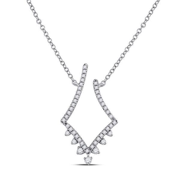 Diamond Modern-V Fashion Necklace 1/4 Cttw 14kt White Gold